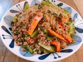 小松菜と挽き肉のチャプチェ風♡春雨炒め♡