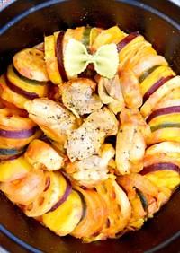 おしゃれ!リースな野菜と鶏肉のトマト煮込