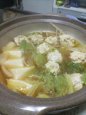 節約…鶏団子鍋。