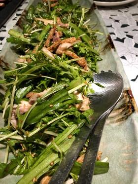 焼き鯖と春菊のおかずサラダ