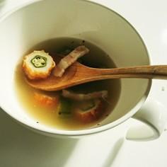 オクラちくわベーコンのとろとろスープ☆