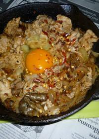 イシスキで豚しゃぶ肉+玉ねぎの醤油炒め