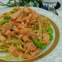 塩鮭&枝豆のガーリックパスタ