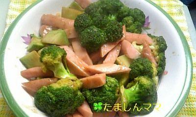 ブロッコリーとお魚ソーセージのオイマヨ炒
