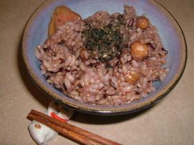 玄米のおいしい食べ方♪黒米&ひよこ豆