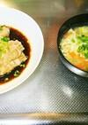 えのきの豚バラ巻きと卵スープ