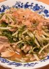 豚肉と切り昆布のモヤシ炒め