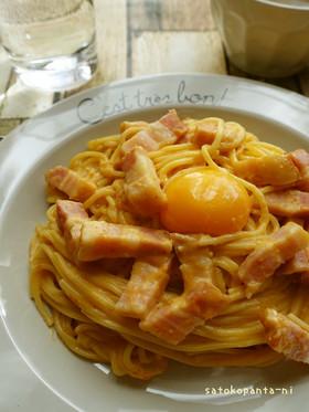 パスタで簡単担々麺風☆カルボナーラ♪