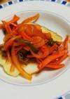 甘塩たらをケチャップ味の野菜と・・・