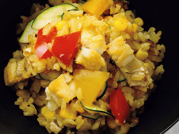 焼き穴子と夏野菜のカレー風味ごはん