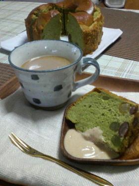 和風*甘納豆の抹茶ミルクシフォン*