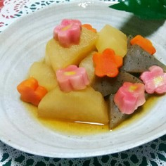 大根と蒟蒻の簡単煮物(レンジと鍋)