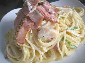 ハムと帆立のクリームスパゲッティ