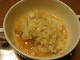 HappyCafeさんスープでキムチ雑炊