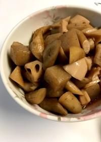 【ホットクック】蓮根 牛蒡 蒟蒻の甘辛煮