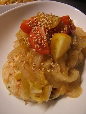 冷凍とうふハンバーグの白菜餡かけ