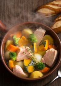 ロースハムと季節の野菜スープ