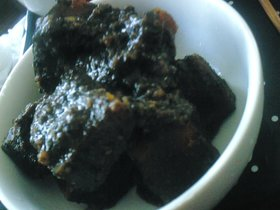 胡麻まみれの南瓜の味噌煮
