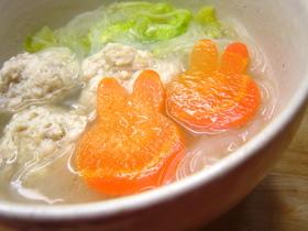 ふわっふわ♪鶏団子のスープ