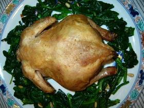 丸鶏グリル・もち米と栗の詰め物