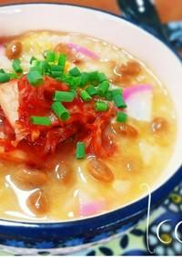 発酵食品で腸活♪納豆チーズ雑炊+キムチ