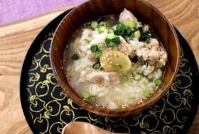 鶏と生姜の もち麦粥