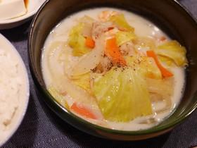 豆乳でちゃんぽんスープ