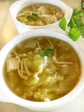 白菜とエノキの簡単とろみスープ