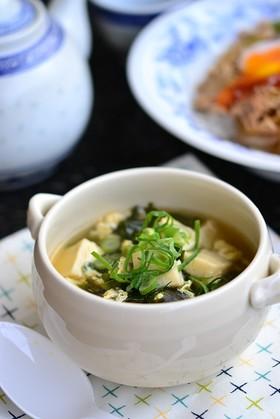 わかめと高野豆腐のかきたまスープ