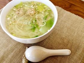ネギ塩スープの温かい素麺