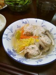 我が家の減塩 鶏肉団子と春雨のスープの写真
