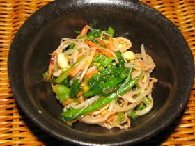 豆もやしと菜の花の中華サラダ