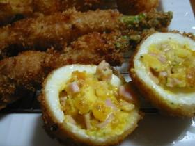 ゆで卵のハムマヨフライ