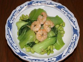 エビとチンゲン菜の中華風炒め