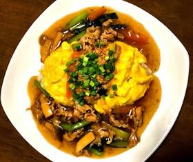 小松菜と豚肉の和風あんかけオムライス