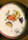 産後ごはん♪ゴロゴロ野菜の豆乳スープ
