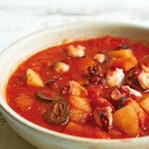 たことじゃがいものガリシア風トマト煮込みスープ