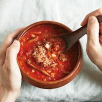 根菜とかつお節のミネストローネスープ