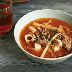 ごぼうとれんこんのきんぴら風ピリ辛スープ