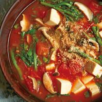 春菊ときのこのトマトチゲスープ