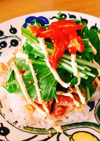 豚バラ水菜キムチでカフェ風丼♡