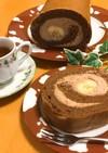 チョコバナナロールケーキ