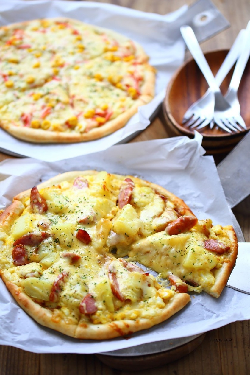 ポテトのバター醤油&マヨタマ♡ピザ