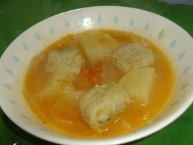 いわし団子入り味噌キムチスープ