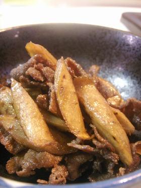 ごぼうと牛肉のささっと炒め煮
