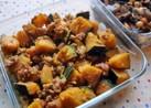 カボチャとひき肉の甘辛炒め