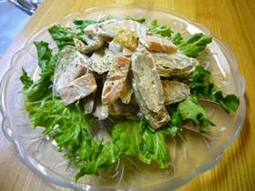 ごぼうとソーセージのガーリックサラダ