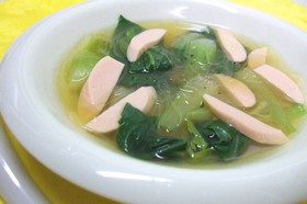 おさかなのソーセージで中華風スープ♪