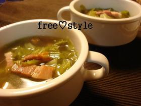 エコレシピ♪固いキャベツの葉をスープに♪