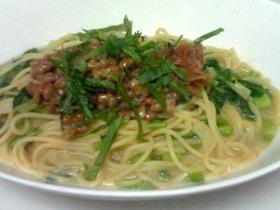 ☆ごま風味☆梅納豆のスープスパゲッティ
